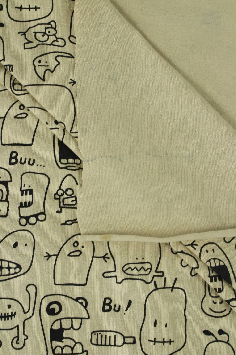 copy of Knit - Jersey - White With Pugs - 180 cm - 170 g/m2